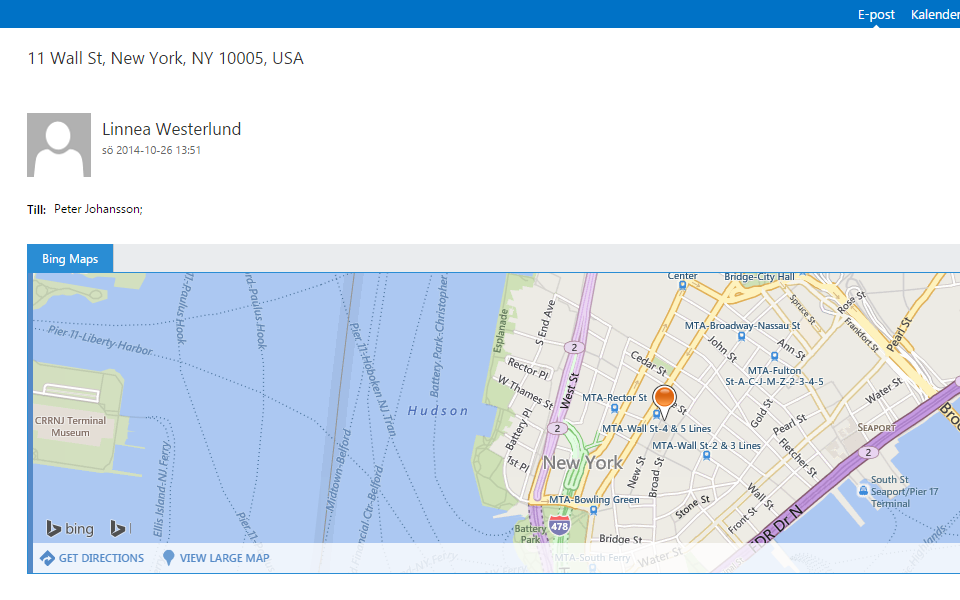 Hosted Exchange bing maps integration